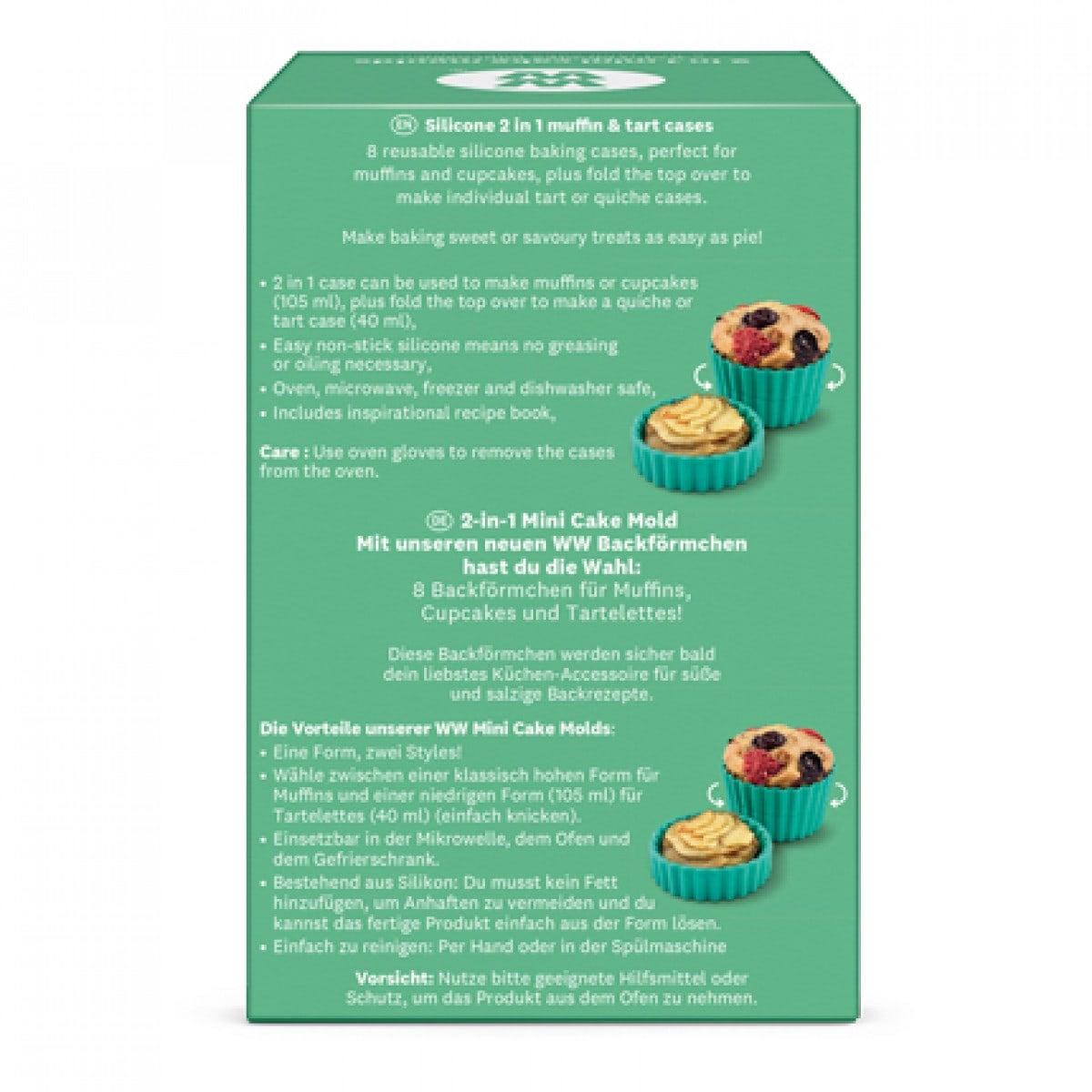 WW Muffinförmchen 2 in 1 aus Silikon in blauer und grüner, eckiger Verpackung mit Produktbild Hintenansicht 2