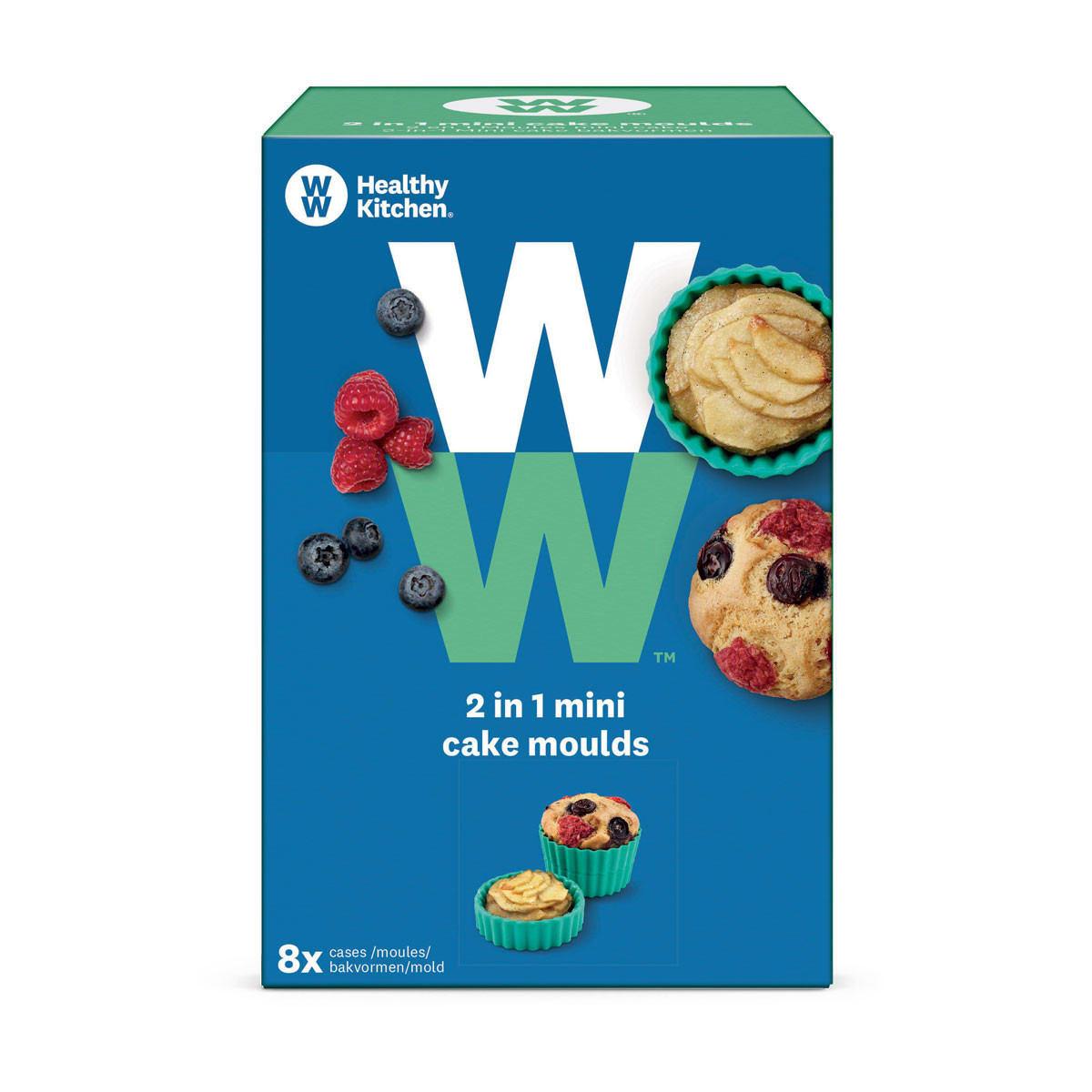 WW Muffinförmchen 2 in 1 aus Silikon in blauer und grüner, eckiger Verpackung mit Produktbild