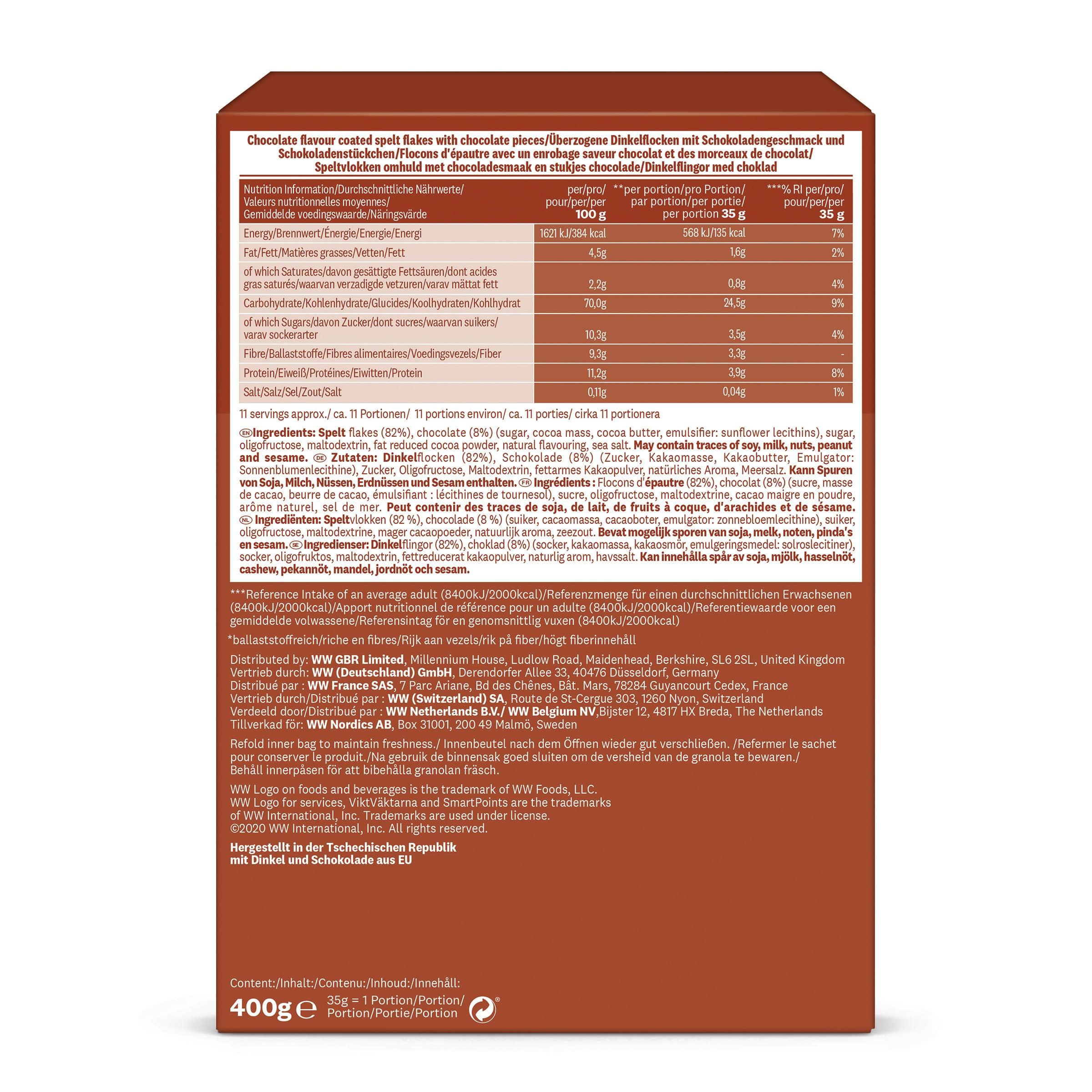 WW Knusper-Dinkel-Müsli mit Schokolade braune Verpackung Rückseite