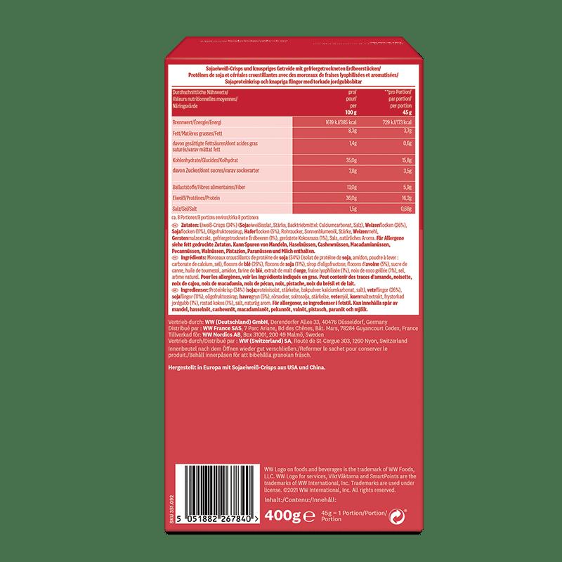 WW Erdbeer-Granola Müsli Verpackung rot Rückseite Inhaltsstoffe