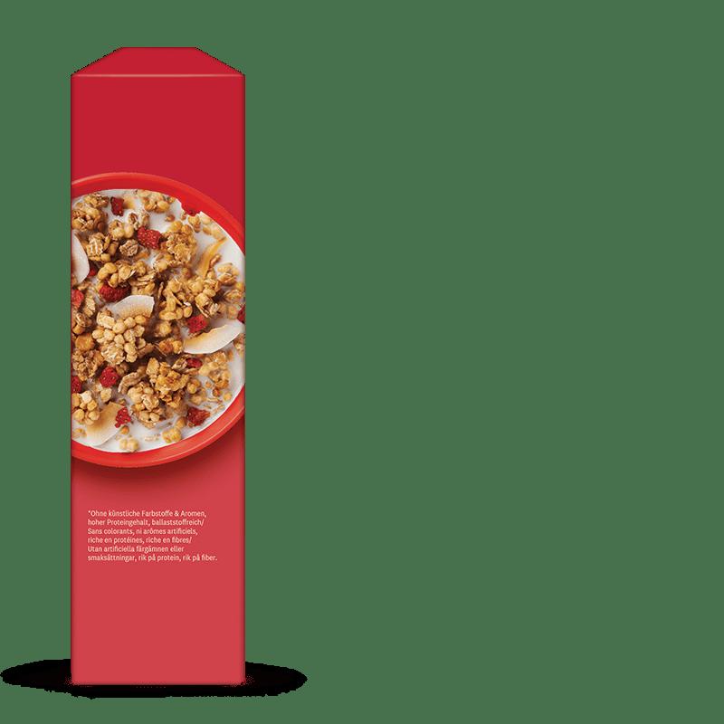 WW Erdbeer-Granola Müsli seitliche Verpackung rot