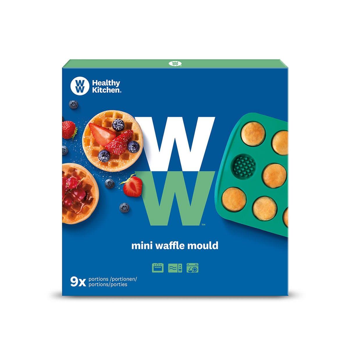 WW Waffel Förmchen in blauer und grüner, eckiger Verpackung mit Produktbild.