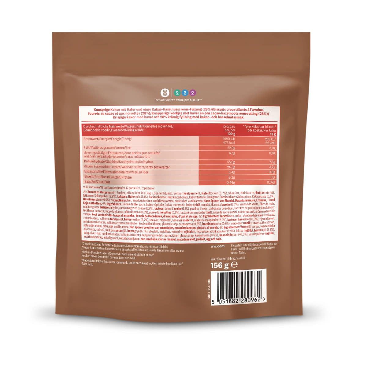 WW Kekse mit Kakao-Haselnusscreme-Füllung, Rückseite der braunen Verpackung mit Nährwertangaben