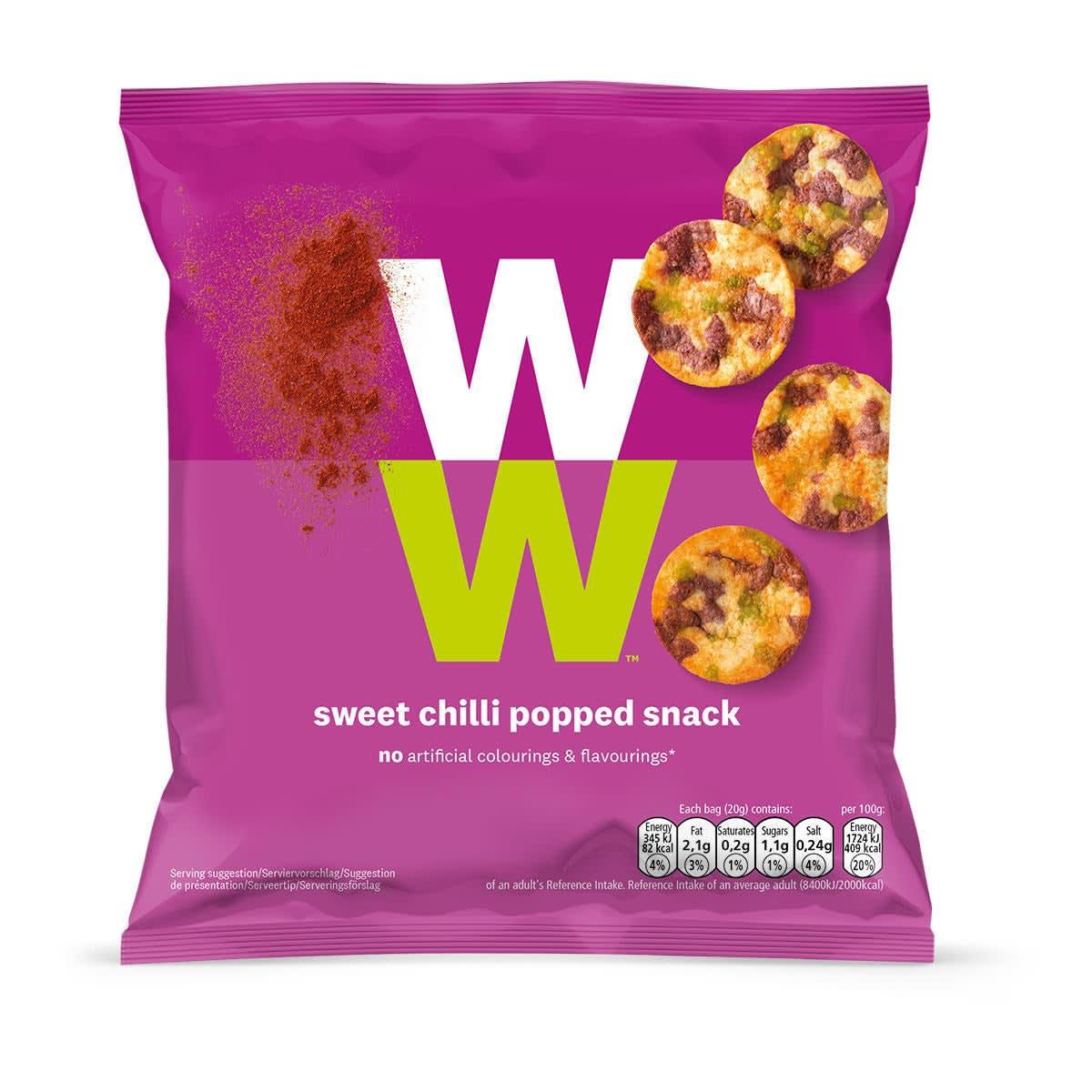 WW Snack Sweet Chili mit Kichererbsen, grünen Erbsen und Süßkartoffel, Frontansicht der pinken Verpackung mit WW Logo