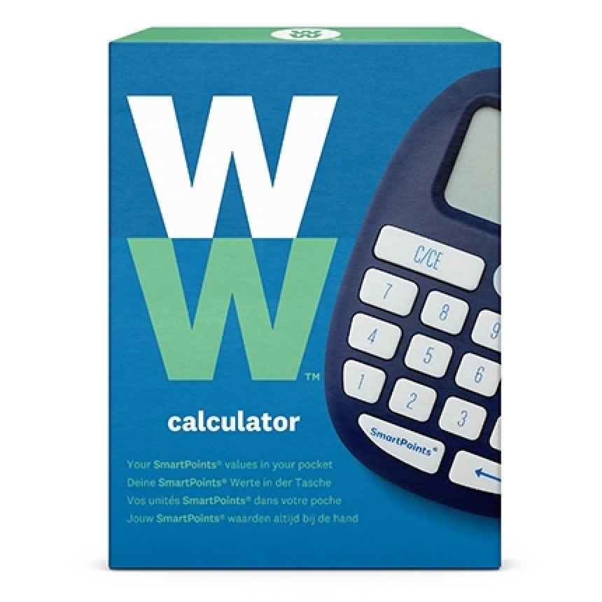 WW Taschenrechner in blauer und grüner, eckiger Verpackung mit Produktbild.