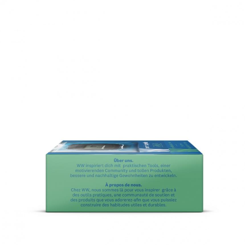WW Calculatrice de poche dans un emballage carré bleu et vert avec photo du produit vue de dessous 2