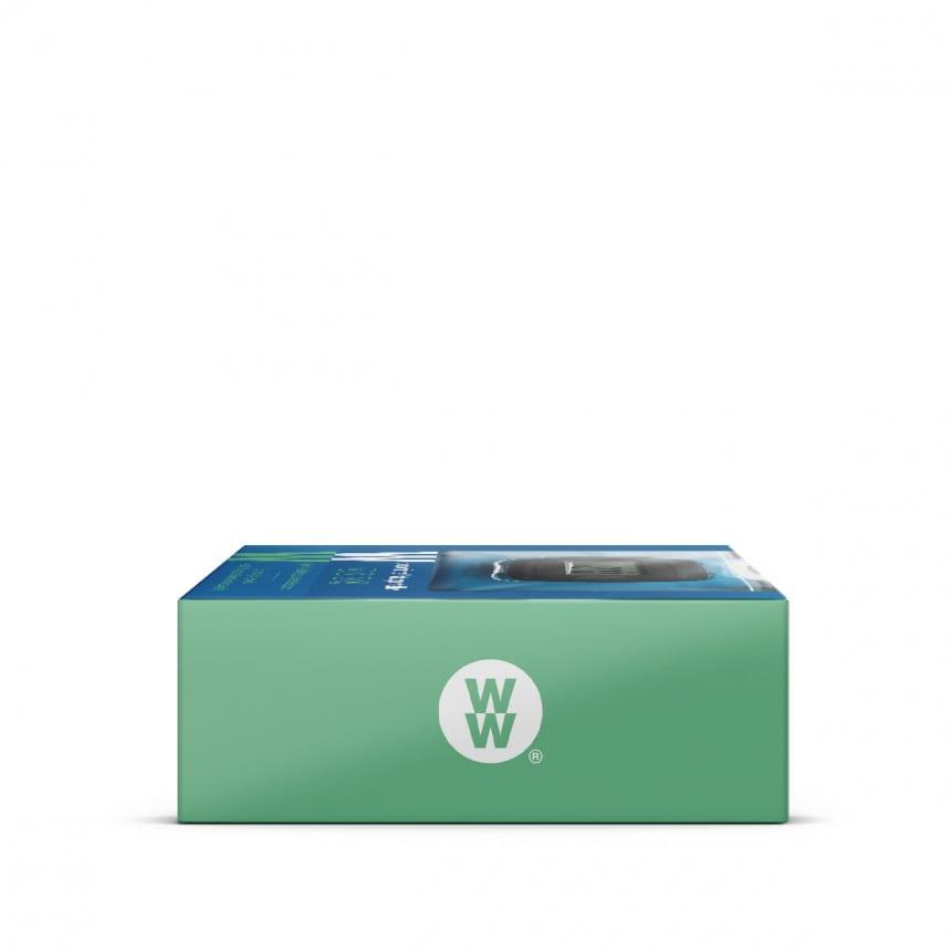 WW Calculatrice de poche dans un emballage carré bleu et vert avec photo du produit, vue d'en haut. 3