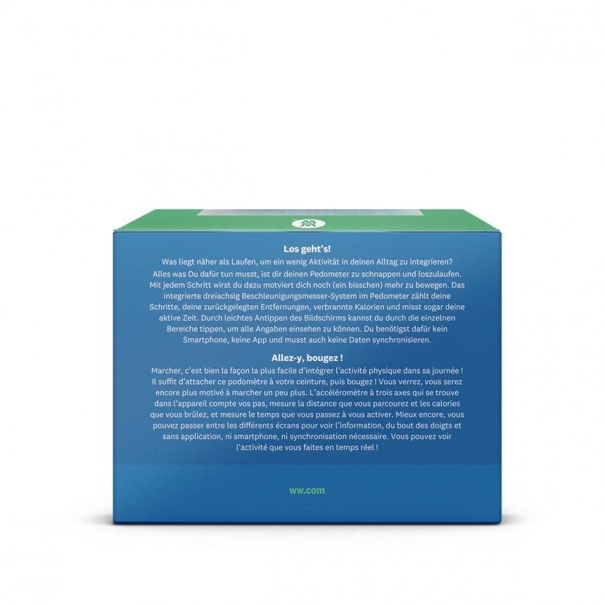 WW Calculatrice de poche dans un emballage carré bleu et vert avec photo du produit, vue arrière 4