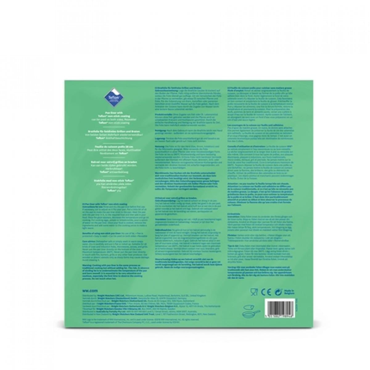 WW Feuille de cuisson réutilisable dans un emballage bleu et vert avec une photo du produit vue arrière 2