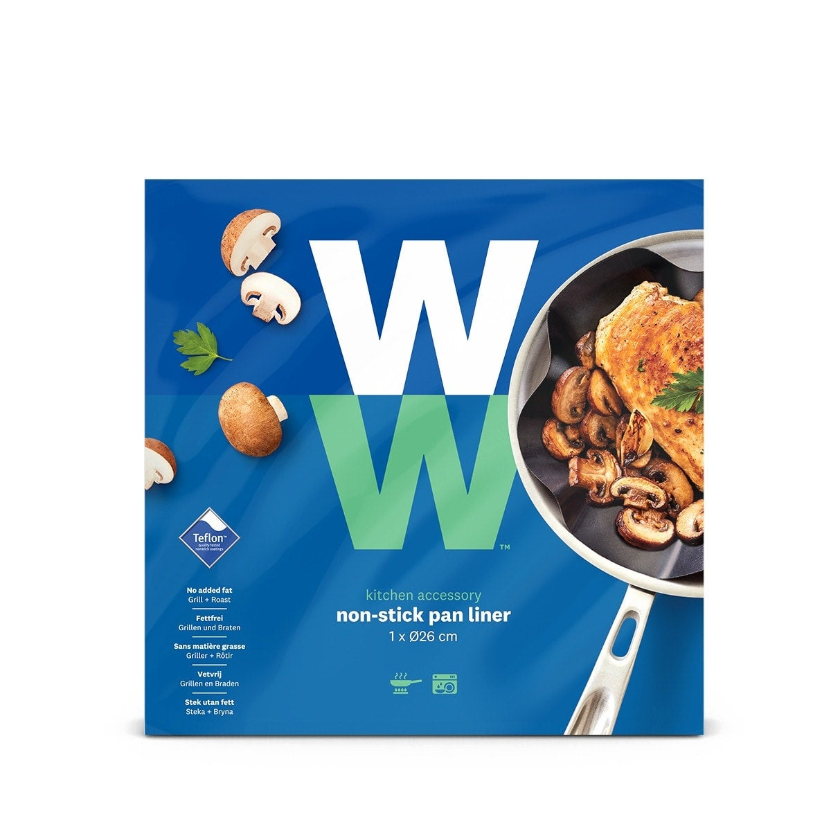 WW Bratfolie für Mehrfachverwendung  in blauer und grüner Verpackung mit Produktbild