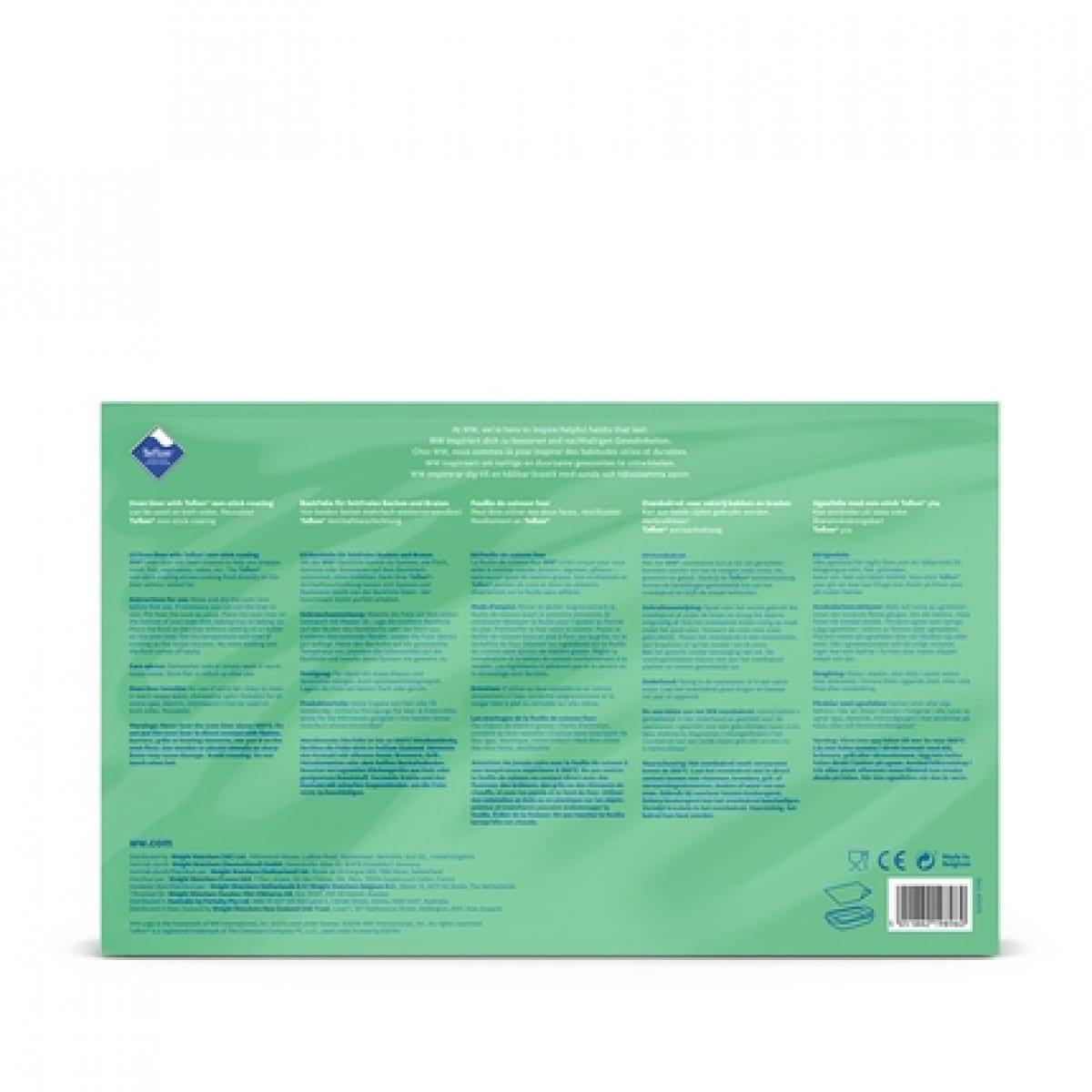 WW Feuille de cuisson four réutilisable dans un emballage bleu et vert avec photo du produit vue arrière 2