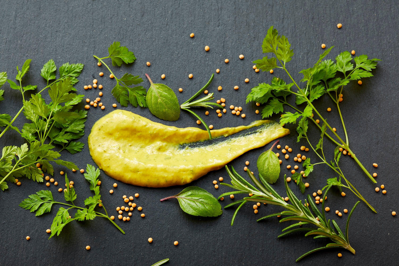 Grillido Kräuter Senf, gelber Senf mit Löffel verstrichen auf schwarzem Hintergrund mit grünen Kräutern