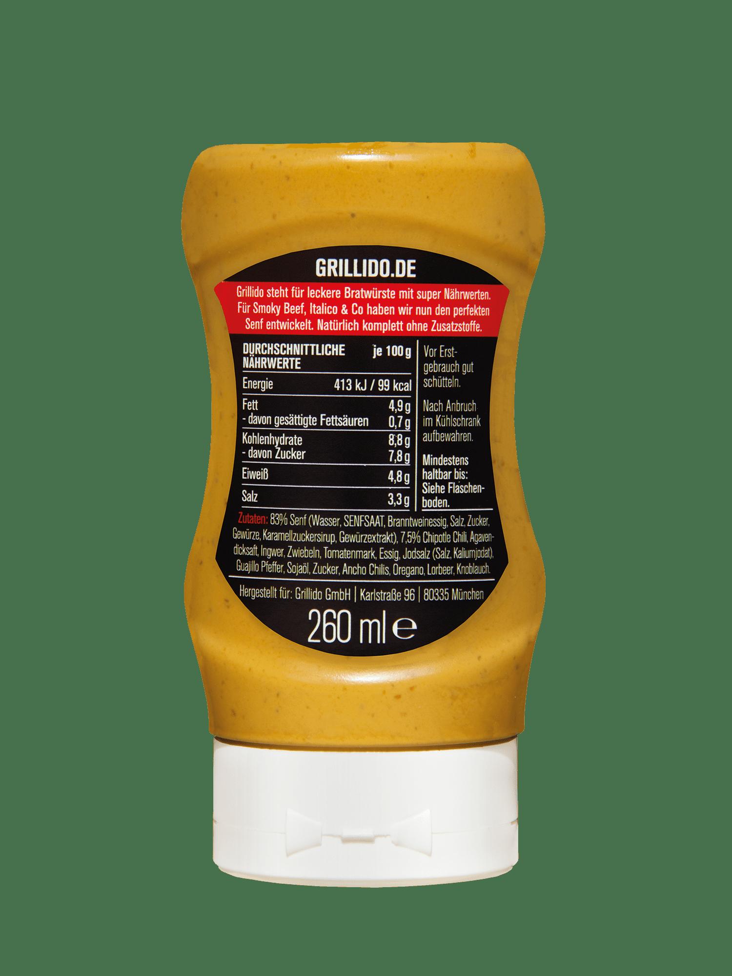 Grillido Chipotle Senf Verpackung Inhaltsstoffe