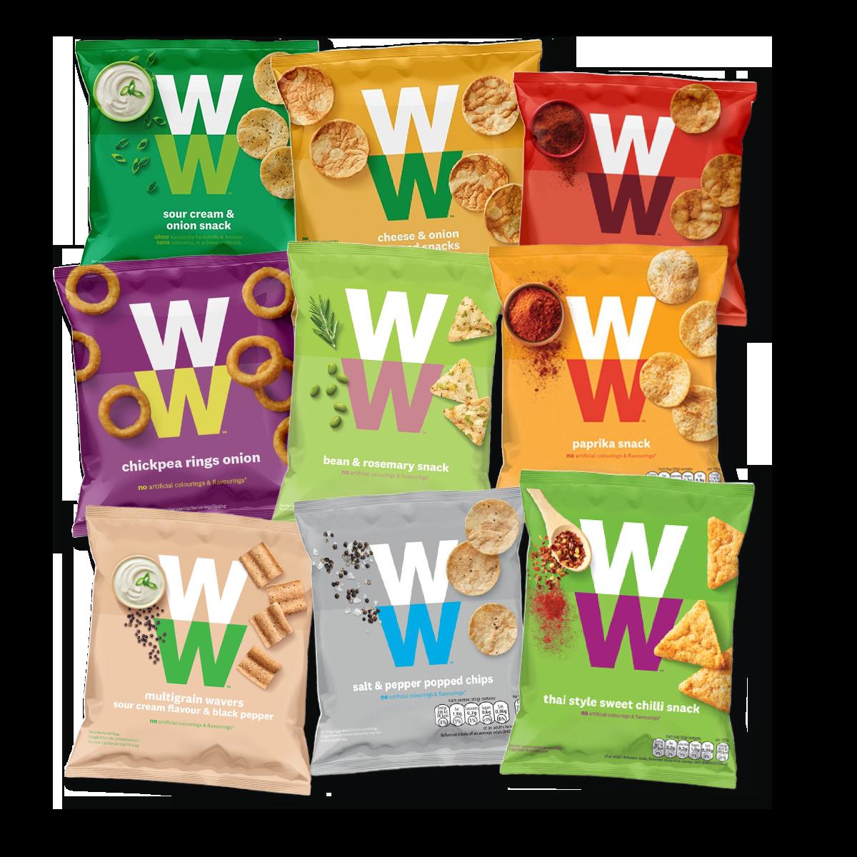 WW Chips Entdeckerpaket, Vorderseite der Verpackungen in verschiedenen Farben mit WW Logo