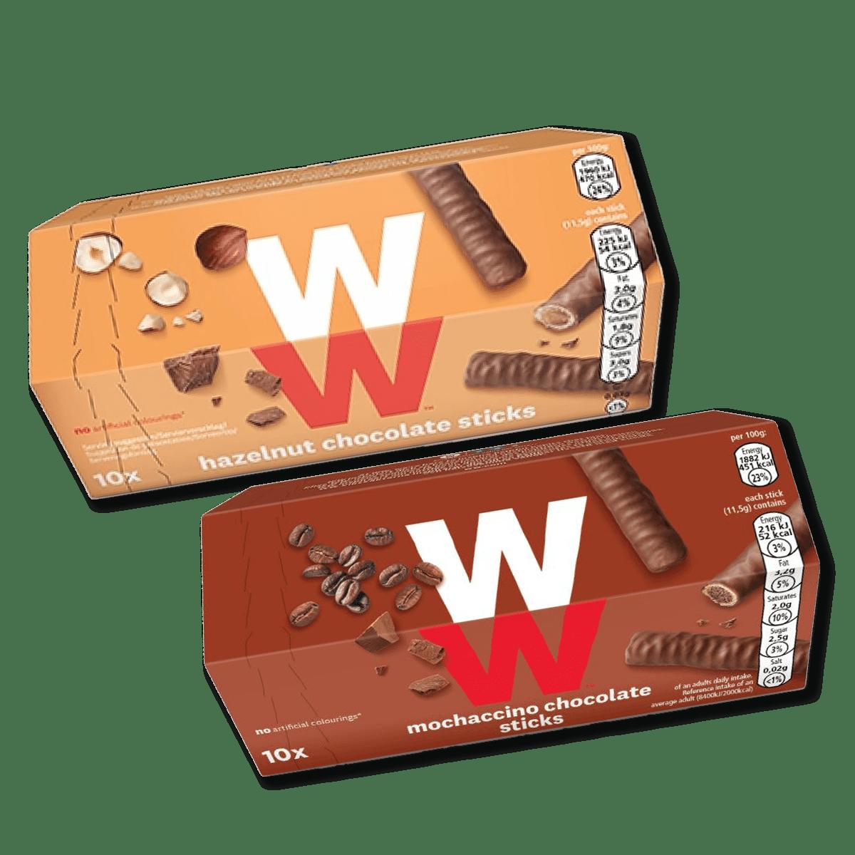 WW Haselnuss + Mocchaccino Sticks, Vorderseite der Produktverpackungen in rot und orange mit WW Logo in weiß