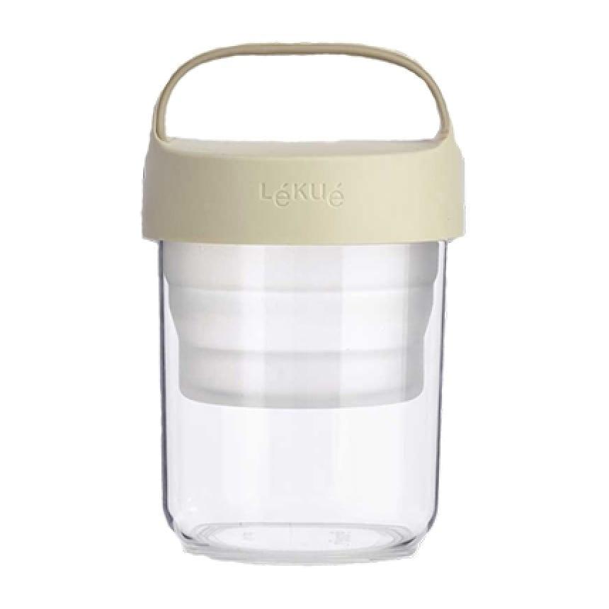 Lékué Transportdose (400 ml) aus Plastik mit beigem Deckel