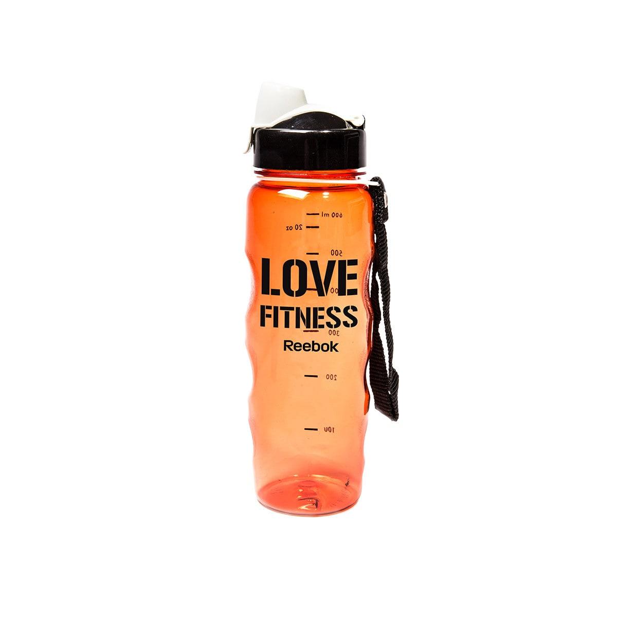 Reebok Trinkflasche aus Plastik orange, schwarz und weiß