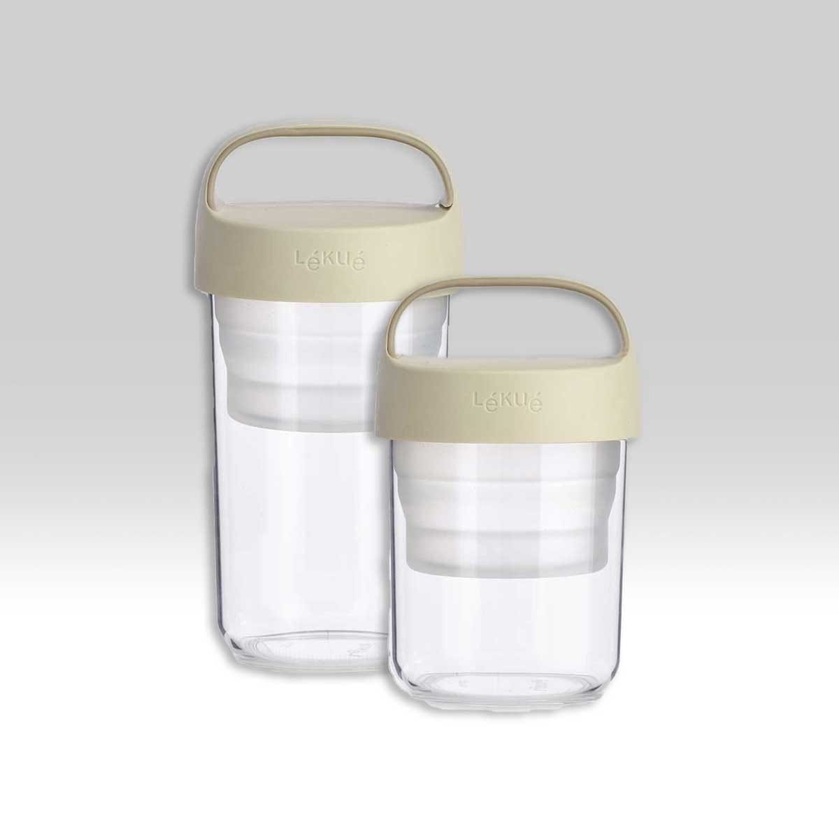 Lékué Transportdose Set (400ml + 600ml) aus Plastik mit beigem Deckel