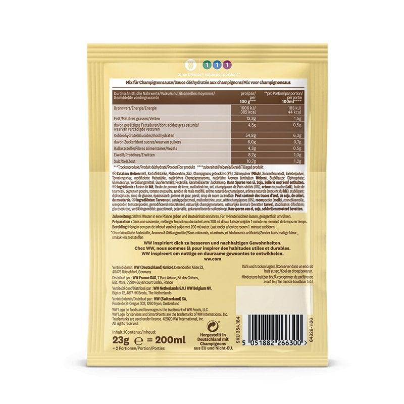 WW Pilz Soße Inhaltsstoffe Rückseite Verpackung