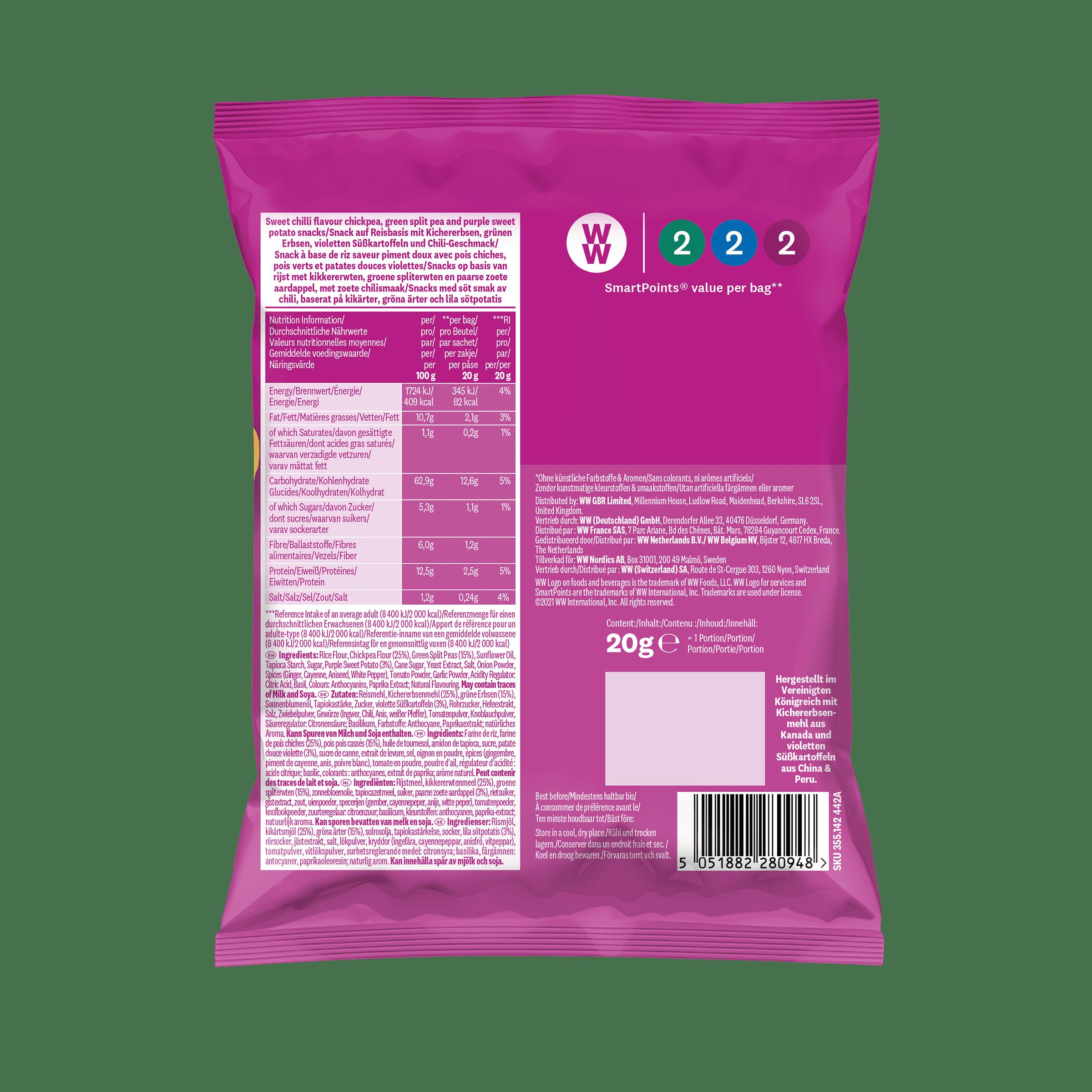 WW Snack Sweet Chili mit Kichererbsen, grünen Erbsen und Süßkartoffel 5er Pack, Rückseite der pinken Verpackung mit Nährwertangaben
