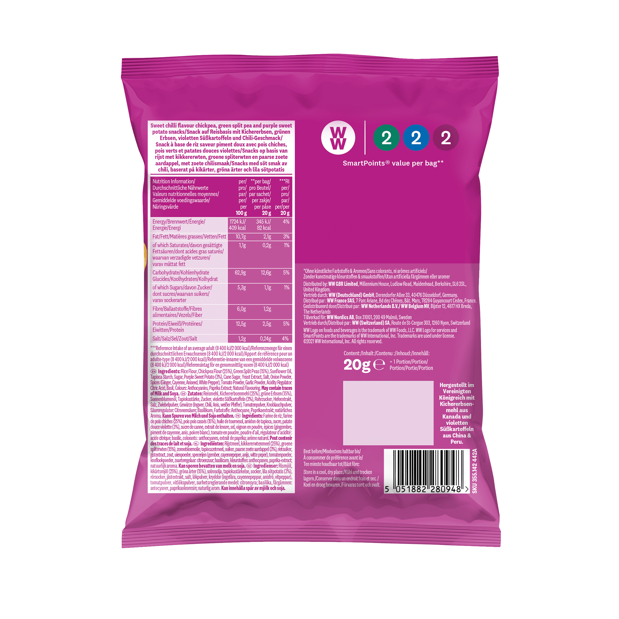 WW Snack Sweet Chili mit Kichererbsen, grünen Erbsen und Süßkartoffel, Rückseite der pinken Verpackung mit Nährwertangaben