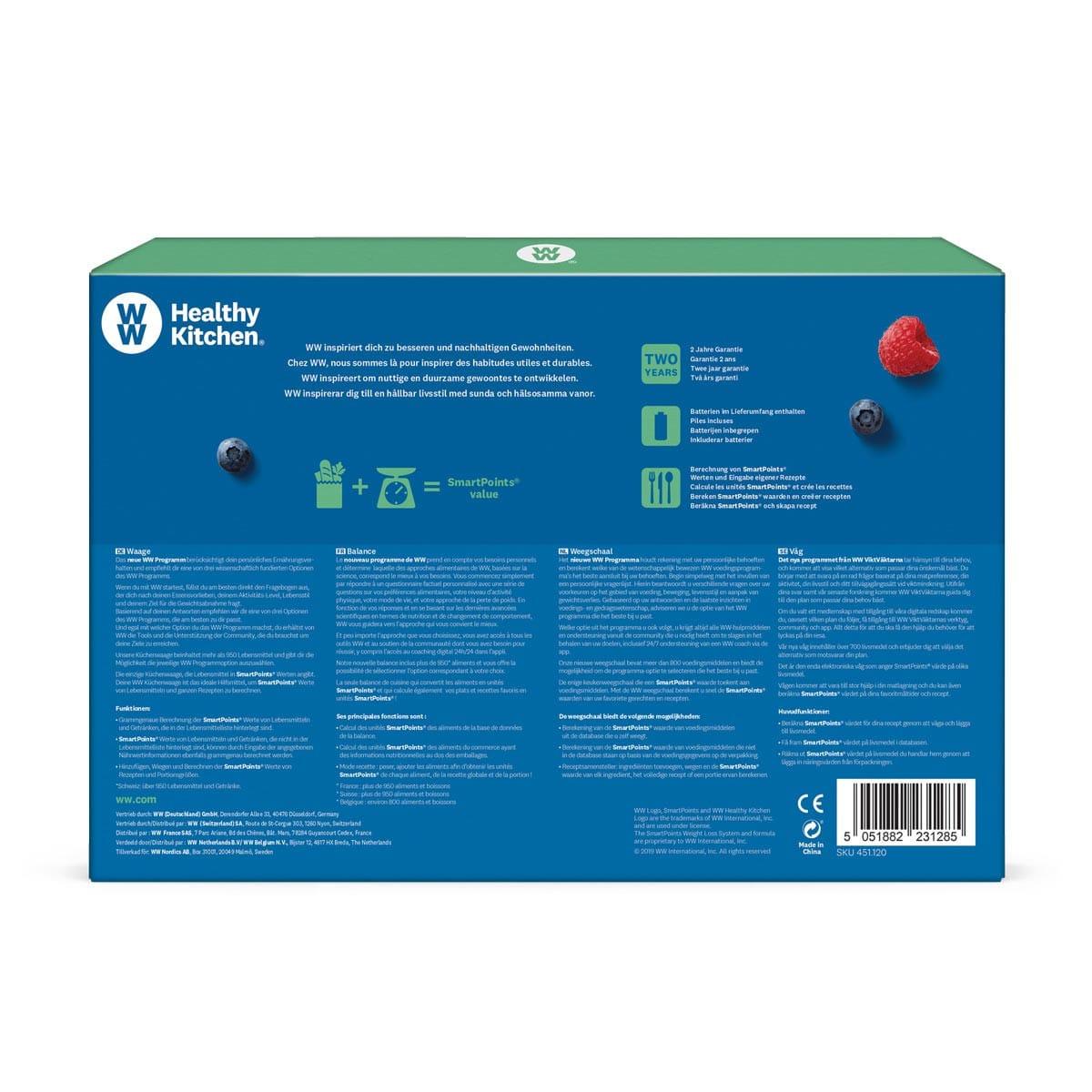 meinWW™ Küchenwaage in blauer und grüner, eckiger Verpackung mit Produktbild Hinteransicht 2