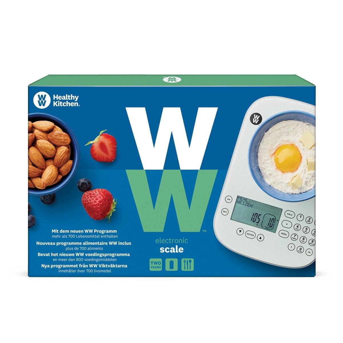 meinWW™ Küchenwaage in blauer und grüner, eckiger Verpackung mit Produktbild